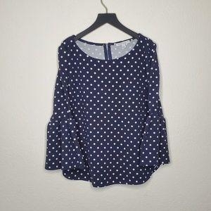 Green Envelope Navy Polka Dotted Blouse